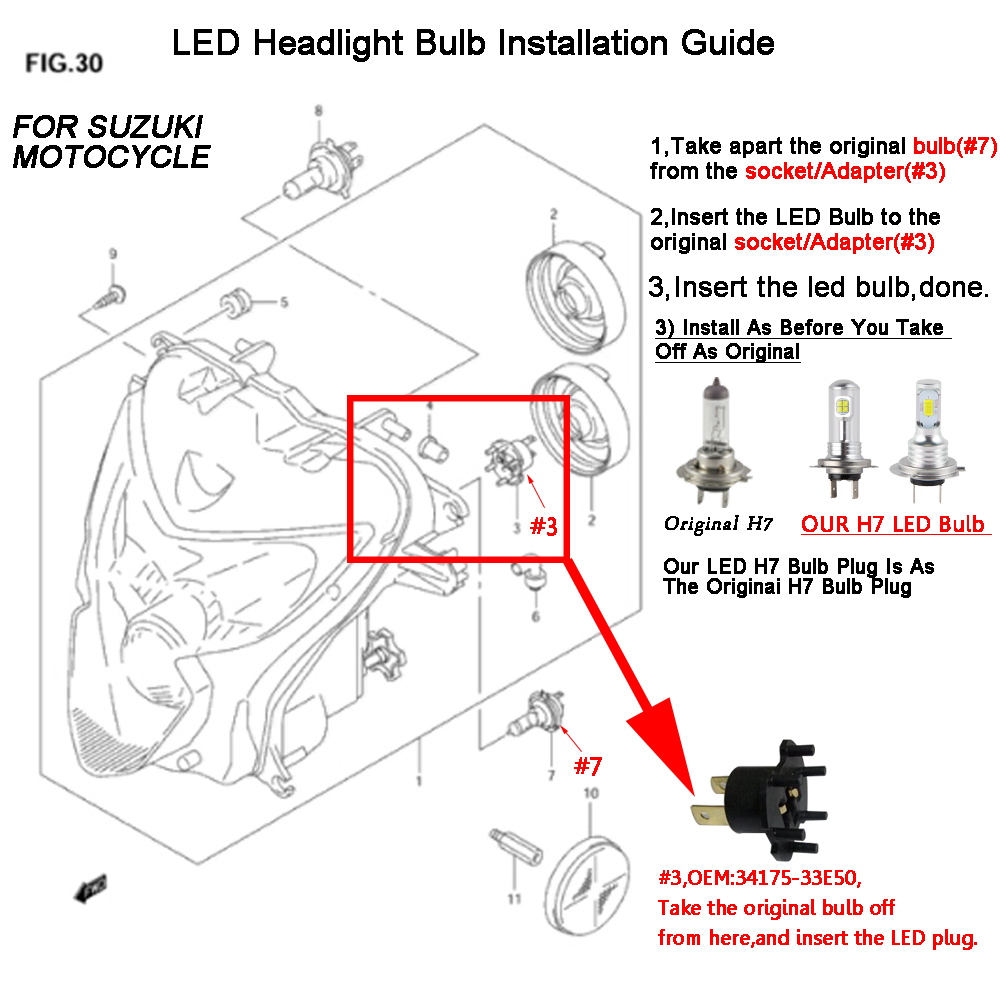 Details about Bevinsee H7 LED Headlight Kit Bulb Fits For BMW K1200GT on