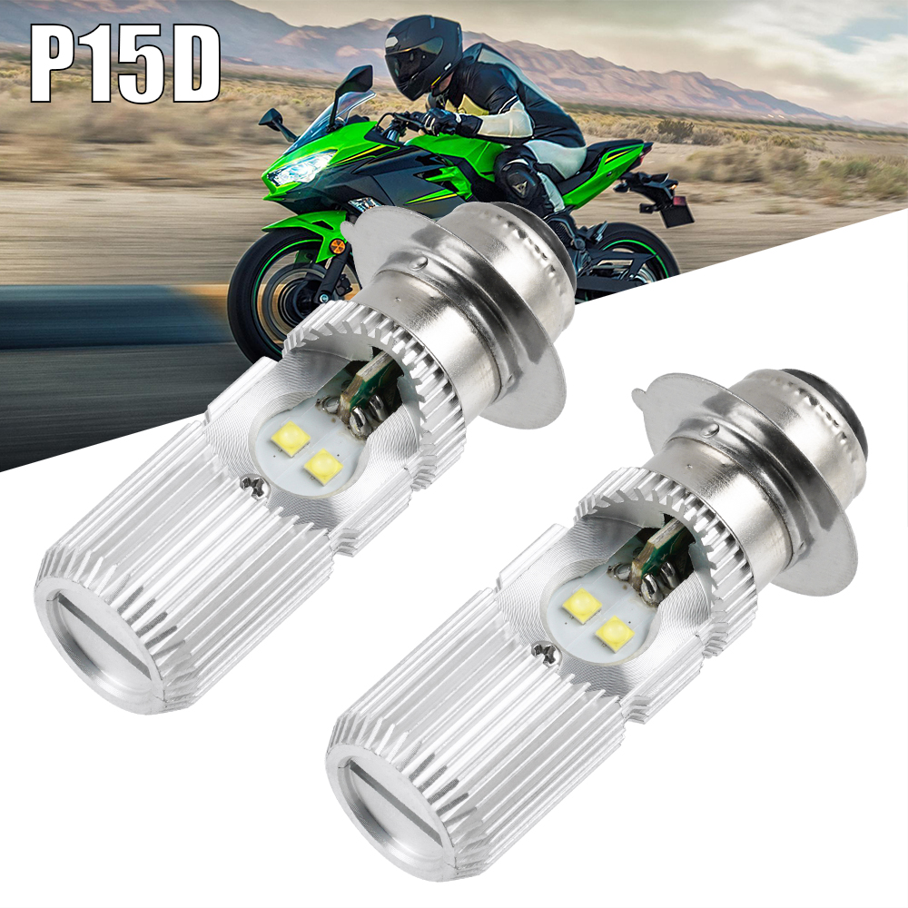 2PCS P15D H6M LED Headlight Bulb For Kawasaki Bayou Prairie 220 250 300 400 360