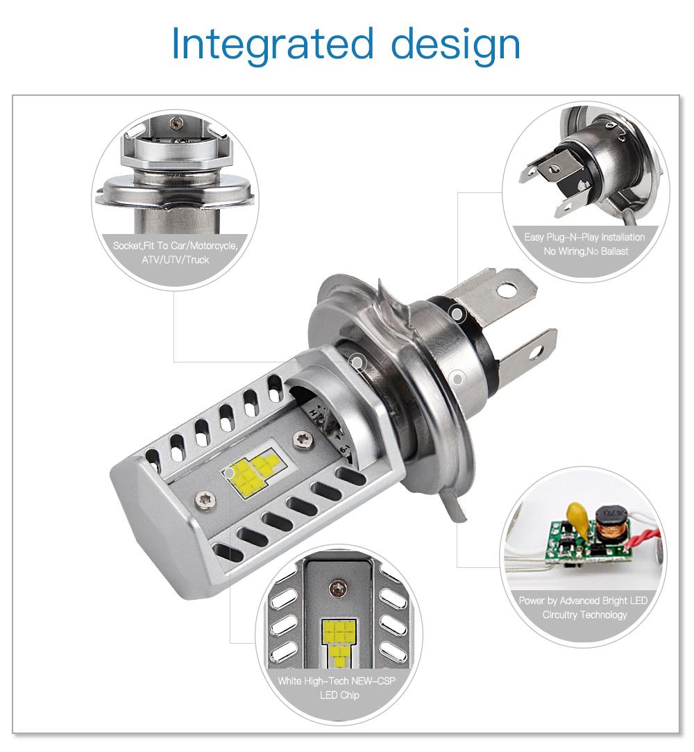 2pcs H4 9003 Led Headlight Bulbs For Can Am Outlander Max