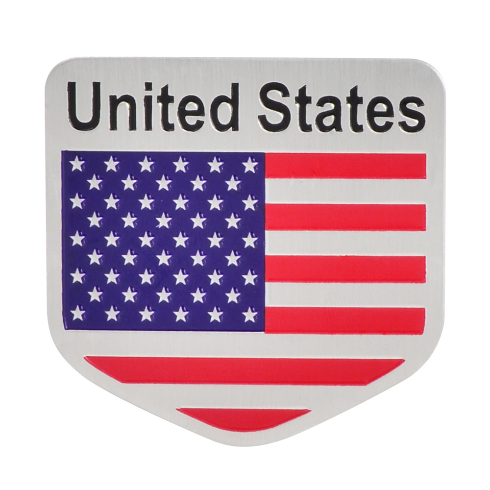 Aluminum Shield Metal Flag US The United State Grill Emblem Badge Sticker Decal